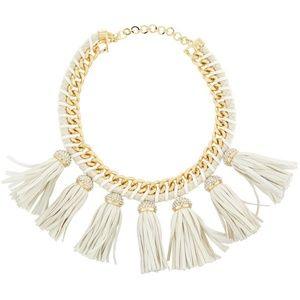 Cocoa Jewelry White Lucinda Tassel  Bib Necklace